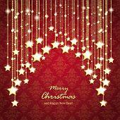 Golden Christmas Stars Curtain