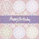Happy Birthday Card. Vintage Lace Design. Pastel Purple Violet Color