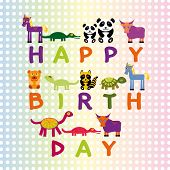 Happy Birthday Card On Pastel Color Background Funny Animals.