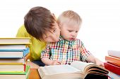 Kid And Baby Boy With The Books