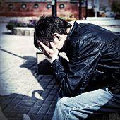Sad Teenager On The Street