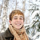 Happy Teenager In The Winter