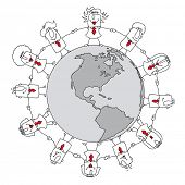 Business world. A group of businessmen and business women holding hands around the world