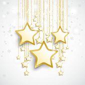 White Golden Stars Snowfall