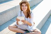 Travel tourist woman with spiral copybook