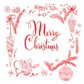 Merry Christmas lettering isolated on white background