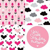 Seamless love valentine patterns and hand lettering quote text for postcard cover design in vector