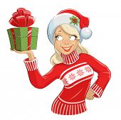 Girl in Santa Claus costume with gift box. Eps10 vector illustration. Isolated on white background