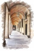art watercolor background isolated  on white basis with european antique town, Italy, Rome. Arcade of patio
