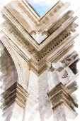 art watercolor background isolated on white basis with european antique town, Italy, Rome. Detail of classic order, small-caps in patio