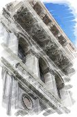 art watercolor background isolated on white basis of street and detail of buildings in Venice, Italy