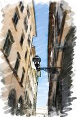 art watercolor background isolated on white basis with european antique town, Italy, Florence. Street