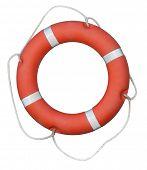 Red lifebuoy isolated on white
