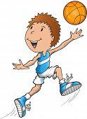 Caucasian Basketball Player Vector Illustration Art