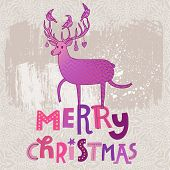 Stylish Merry Christmas card in modern violet colors. Deer silhouette on Merry Christmas text in vector.  Ideal for holiday invitations