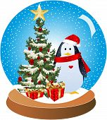 Christmas-Penguin Snow Globe Red