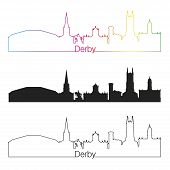 Derby Skyline Linear Style With Rainbow