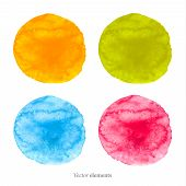 Colorful watercolor circles. Four isolated vectors. eps 8