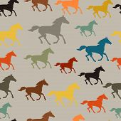 Seamless pattern with horse running in flat style.