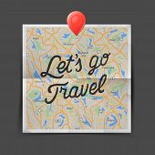 Travel concept. Text - let is go travel on the map seamless background, vector illustration.