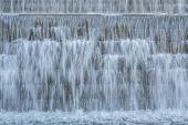 Waterfall on stone steps