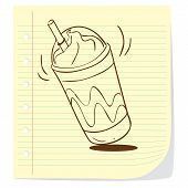 picture of frappe  - Vector illustration of coffee frappe in doodle style - JPG