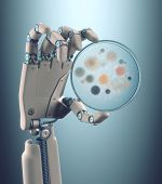 image of cybernetics  - Robot hand holding a petri dish with colonies of bacteria and fungi - JPG