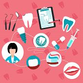 Dental treatment and teeth helth infographic