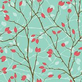 Seamless pattern with styled rosehips