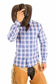 Cowboy Blue Plaid Shirt Hold Hat Over Face