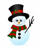 Christmas Snowman Isolated Over White