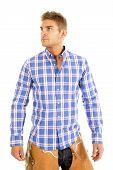 Cowboy Plaid Blue Shirt Look Side
