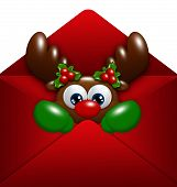 Christmas Reindeer In Envelope Over White