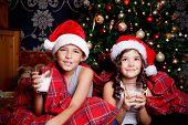 Cute Little Kids Drinking Milk