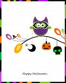 halloween card with owl sitting on a branch