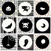 black and white Halloween background with cat, skull, crow, moon, pumpkin, bat, spider, ghost and balloon