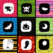Halloween background with cat, skull, crow, moon, pumpkin, bat, spider, ghost and balloon