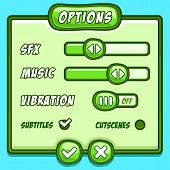 image of asset  - Options menu green style game buttons asset - JPG