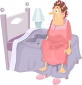 Illustration Featuring an Elderly Woman Waking Up to a Wet Bed