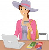 Illustration Featuring a Woman Making an Online Purchase
