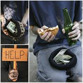 Poverty concept. Homeless men ask for help collage