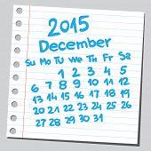 Calendar 2015 december (sketch style)