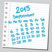 Calendar 2015 september  (sketch style)