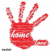 Vector concept or conceptual education hand print word cloud, white background as sketch or scribble