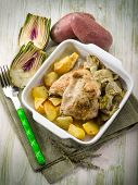 chicken with potatoes and artichoke