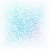 Seamless Abstract Vector Light Blue White Color Hand-drawn Pattern. Waves And Clouds Background. Fro