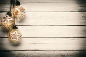 Christmas decorations on old wooden planks -Place for your advertisement