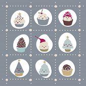 cute winter cupcake template