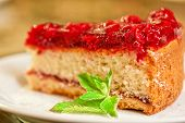 tasty cake with berry's and fresh mint