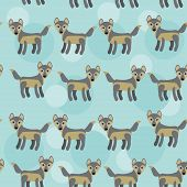 Gray Wolf Seamless Pattern With Funny Cute Animal On A Blue Back Background